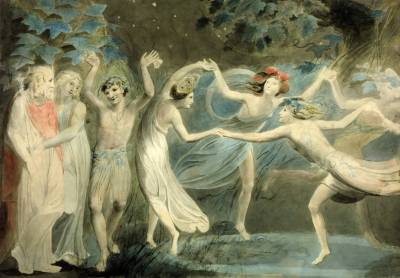 Oberon, Titania and Puck with Fairies Dancing 1786, William Blake